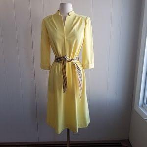 1980s Leslie Fay Petites Yellow Dress